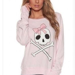 Wildfox Couture Pink Skull Sweater